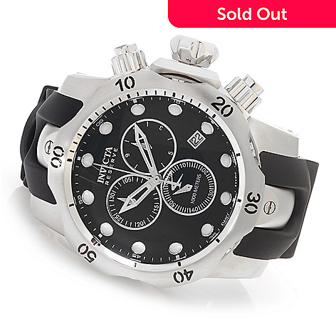 627-729 - Invicta Reserve 52mm Venom Swiss Chronograph Polyurethane Strap Watch w/ Three-Slot Dive Case