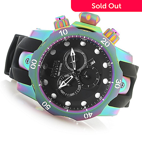 627-734 - Invicta Reserve 52mm Venom Swiss Quartz Chronograph Iridescent Case Polyurethane Strap Watch