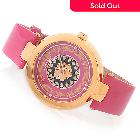 627-757 - Versace Women's Mystique Foulard Swiss Made Quartz Diamond Accented Genuine Leather Strap Watch
