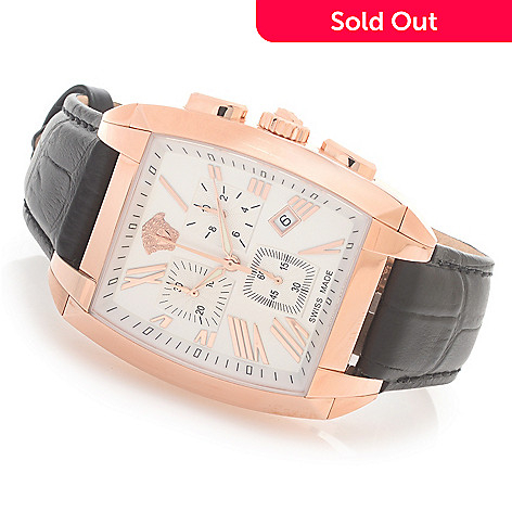 627-783 - Versace Tonneau Character Swiss Made Quartz Chronograph Leather Strap Watch