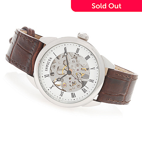 627-811 - Invicta 32mm or 42mm Vintage Mechanical Stainless Steel Leather Strap Watch