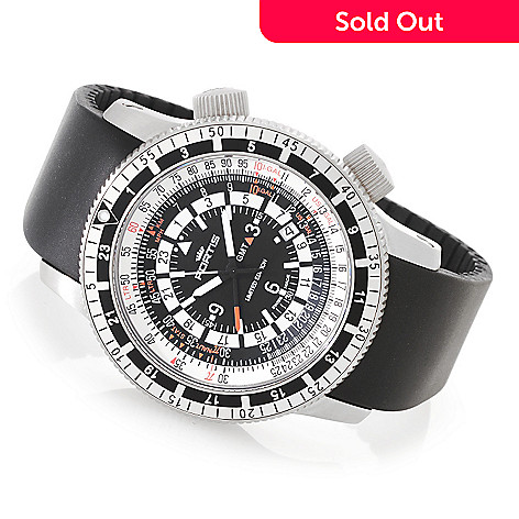 627-824 - FORTIS 47mm B-47 Calculator Limited Edition Swiss Automatic GMT Silicone Strap Watch