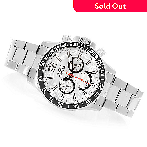 627-917 - Invicta 45mm Racer Quartz Chronograph Stainless Steel Bracelet Watch w/ Three-Slot Dive Case
