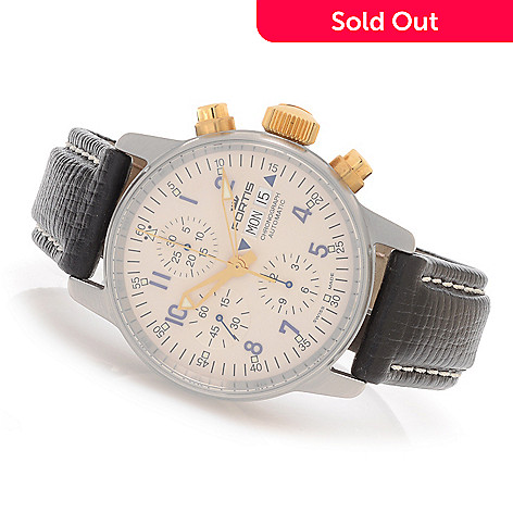 628-142 - FORTIS 40mm Flieger Swiss Made Valjoux 7750 Automatic Leather Strap Watch