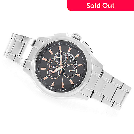 628-251 - Invicta 45mm Specialty Quartz Chronograph Stainless Steel Bracelet Watch w/ One-Slot Dive Case