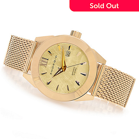 628-324 - Android 48mm Vertigo Automatic Mesh & Link Stainless Steel Bracelet Watch w/ 3-Slot Travel Case