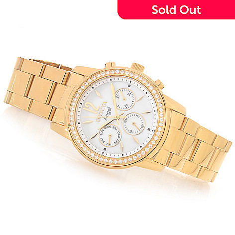 628-371 - Invicta Women's Angel Quartz Crystal Accented Bezel Stainless Steel Bracelet Watch