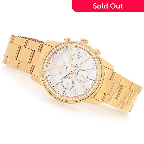 628-371 - Invicta Women's Angel Quartz Crystal Accented Bezel Stainless Steel Bracelet Watch