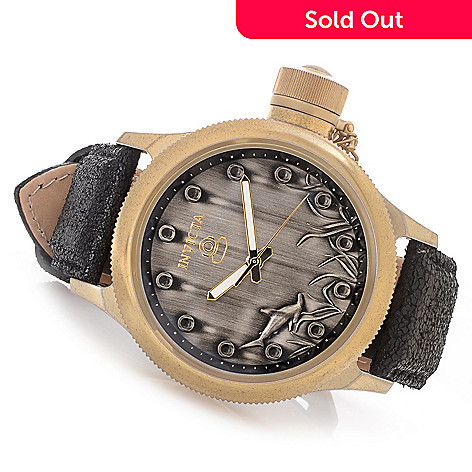 628-392 - Invicta 52mm Russian Diver Shark Dial Quartz Stainless Steel Leather Strap Watch