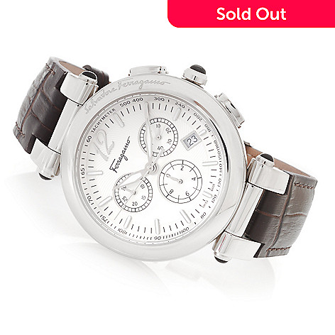 628-402 - Ferragamo 42mm Idillio Swiss Made Quartz Chronograph Leather Strap Watch