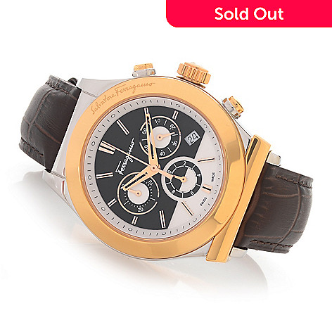 628-404 - Ferragamo 42mm 1898 Swiss Made Quartz Chronograph Leather Strap Watch