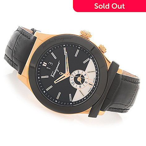 628-405 - Ferragamo 40mm 1898 Swiss Made Quartz Dual Time Leather Strap Watch