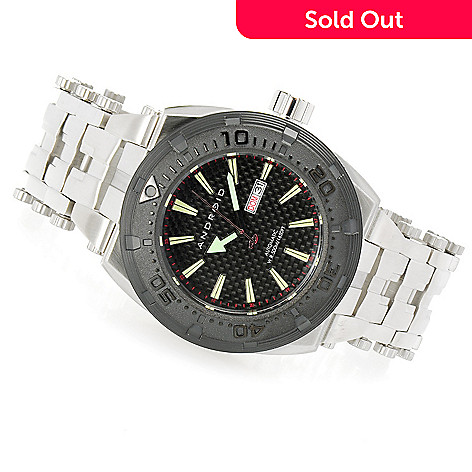 628-471 - Android Millipede Limited Edition Automatic Carbon Fiber Dial Stainless Steel Bracelet Watch