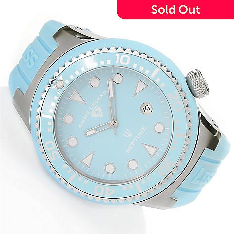 628-545 - Swiss Legend 48mm Neptune Swiss Quartz Silicone Strap Watch