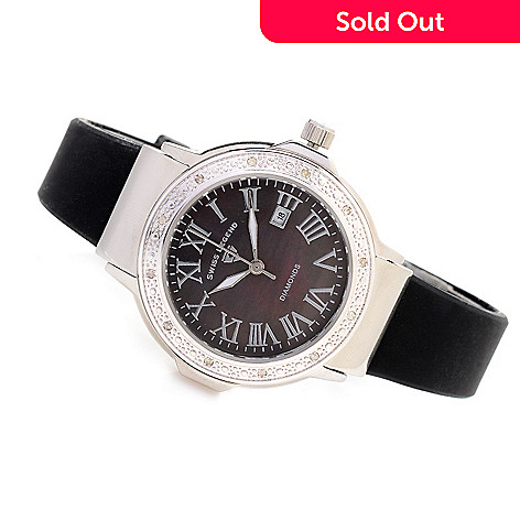 628-547 - Swiss Legend Women's South Beach Swiss Quartz Diamond Accented Silicone Strap Watch