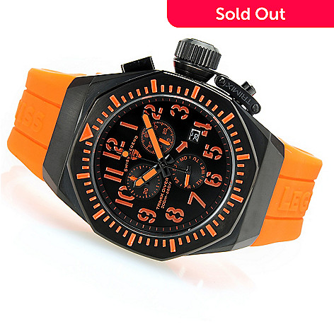 628-549 - Swiss Legend Tonneau Trimix Diver Swiss Quartz Chronograph Silicone Strap Watch