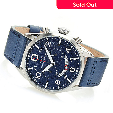 628-571 - AVI-8 46mm Hawker Harrier II Quartz Chronograph Leather Strap Watch