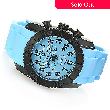 628-587 - Swiss Legend 47mm Commander Swiss Quartz Chronograph Titanium Silicone Strap Watch
