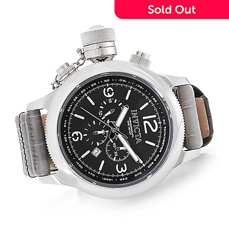 invicta men s 54mm russian diver quartz chronograph leather strap invicta men s 54mm russian diver quartz chronograph leather strap watch w 3 slot dive case