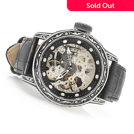 631-707 - Invicta 52mm Excalibur Mechanical Leather Strap Watch w/ 16-Slot Collector's Case