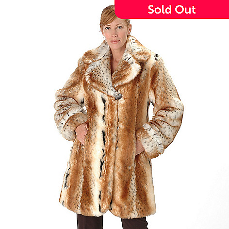 700-462 - Pamela McCoy Large Notch Collar Faux Fur 3/4 Length Coat