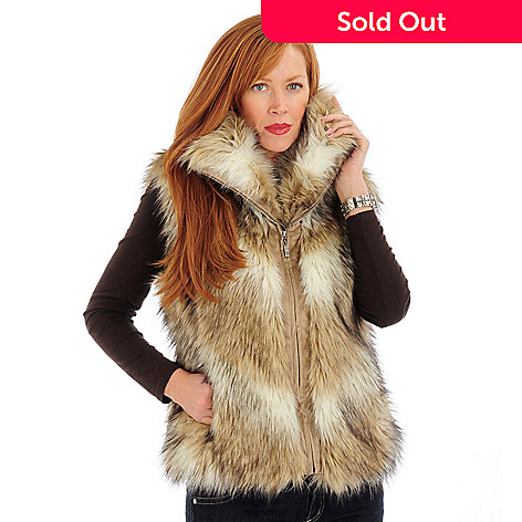701-110 - Pamela McCoy Trim Detail Faux Fur Vest