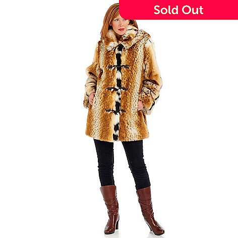 701-119 - Pamela McCoy Toggle Closure Removable Hood Faux Fur 3/4 Length Coat
