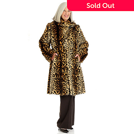 701-122 - Pamela McCoy Shawl Collar Asian Leopard Faux Fur 3/4 Length Coat