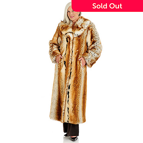 701-125 - Pamela McCoy Shawl Collared Full Length Faux Fur Coat