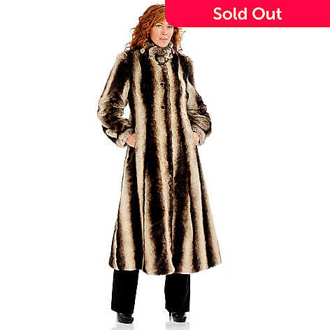 701-133 - Pamela McCoy Rouched Stand Collar Full Length Faux Fur Coat