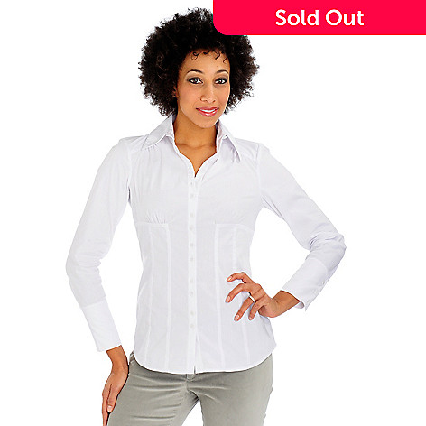 701-313 - Suzanne Somers Corset-Style Button Front Shirt