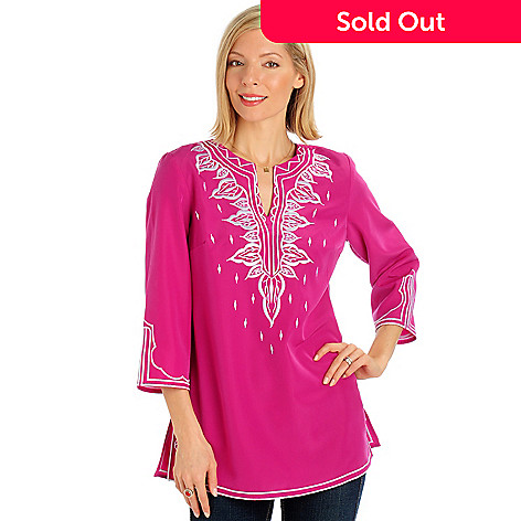 701-556 - Encore by Daniel Kiviat Embroidered Primo Peach Skin Tunic