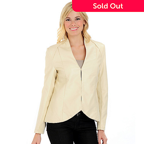 701-584 - Judy Crowell Knit Sleeve Inset Flared Hem Jacket