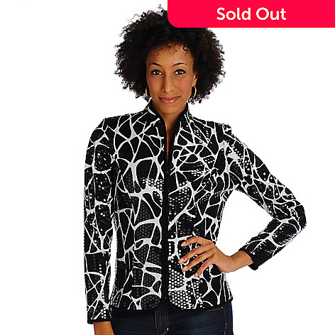 701-880 - aDRESSing WOMANn Animal Print Shimmer Jacket w/Mock Collar & Zip Front
