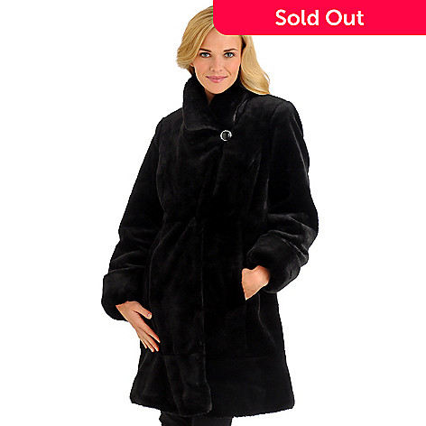701-919 - Pamela McCoy Faux Fur Coat w/Convertible Collar & Rhine- Stone Closures