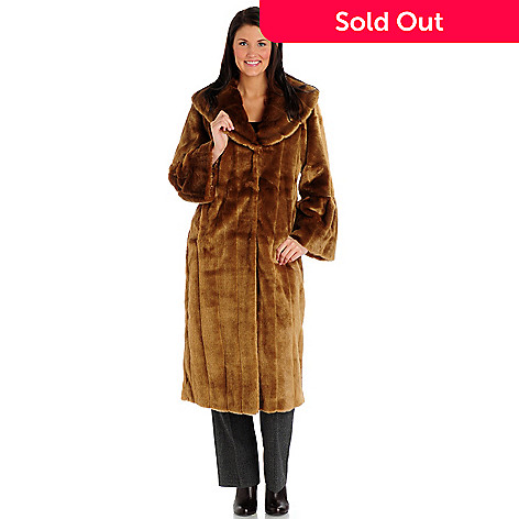 701-920 - Pamela McCoy Bell Sleeve Full Length Faux Fur Coat