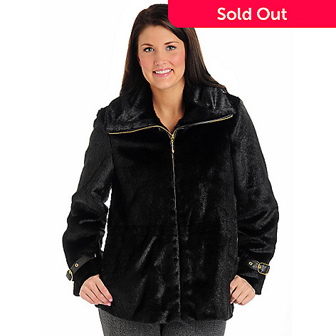 702-048 - Pamela McCoy Zip Front Faux Fur Coat