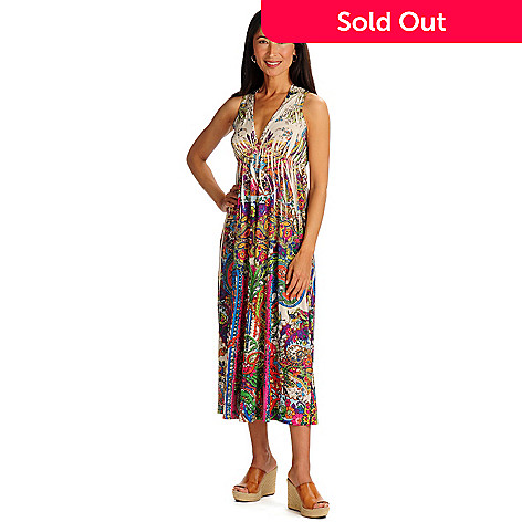 702-099 - One World Micro Jersey Stretch V-Neck Maxi Dress w/ Bling Inset