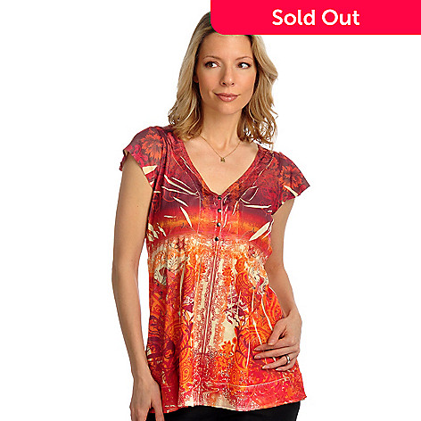 702-118 - One World Print Knit Short Sleeved Satin Trim Henley Top