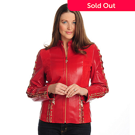 702-129 - Pamela McCoy Leather Zip Front Scuba Jacket w/Chain & Eyelet Details