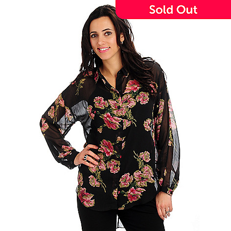 702-134 - Geneology Button Front Floral Print Georgette Oversized Shirt