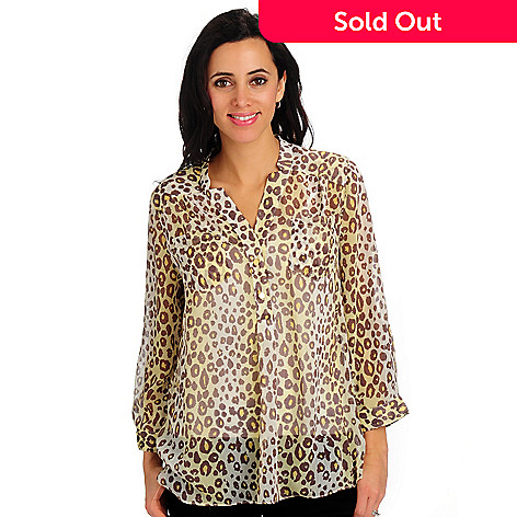 702-135 - Geneology Animal Print Georgette Tunic w/ Convertible Sleeves