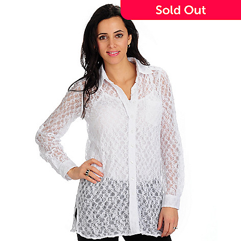 702-140 - Geneology Convertible Sleeve Stretch Lace Big Shirt and Tank Set
