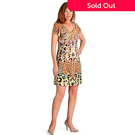 702-150 - One World Micro Jersey Flutter Sleeved Back Lace Detail Flip Flop Dress
