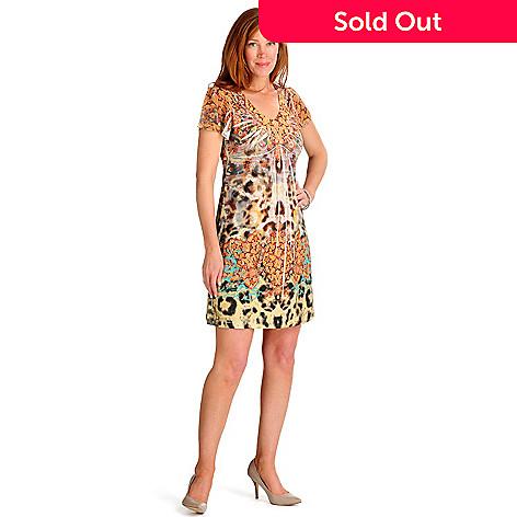 702-150 - One World Micro Jersey Flutter Sleeved Back Lace Detail Flip Flop Dress