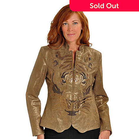 702-169 - Pamela McCoy Metallic Tiger Appliqued Zip Front Leather Jacket