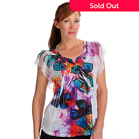 702-177 - One World Slub Embroidery Mesh Sleeve Notch Top