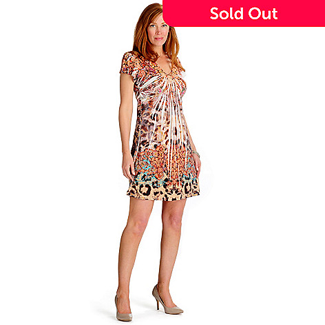 702-178 - One World Micro Jersey Stretch Knit Wide Bling V-Neck Flip Flop Dress