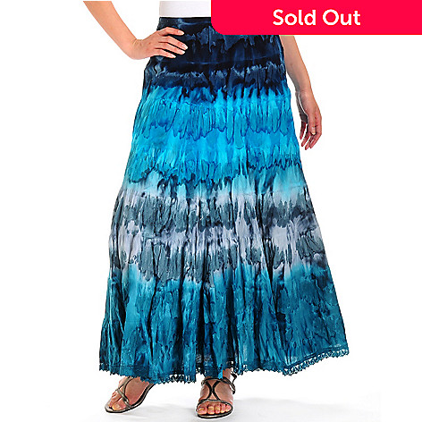 702-224 - Haute Blu Full-Length Tie-Dyed Crochet Trim Cotton Skirt