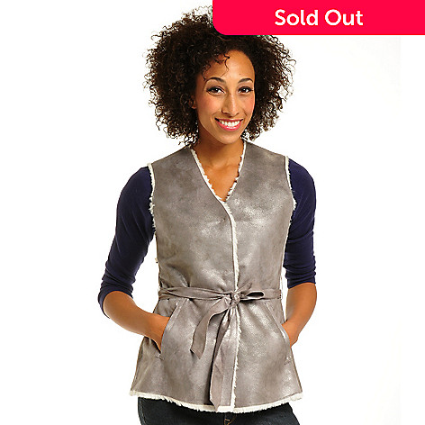702-228 - OSO Casuals™ Iridescent Faux Shearling Self Belted Reversible Vest